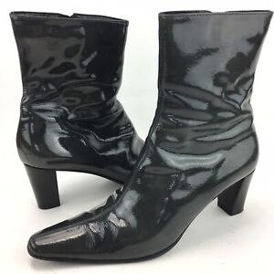Aquatalia Gray Patent Leather Waterproof Ankle Boots Heels Women Size 9 Italy