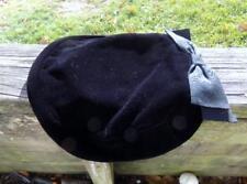 Vintage Women's Hat -  Black Felt Bowtie Back Preowned