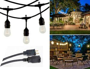48 FT Waterproof String Lights Outdoor Patio Garden Yard Commercial Grade Bulbs