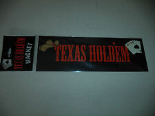 Black Texas Holdem Lead Free Magnet With Brown Cowboy Hat And Five Cards