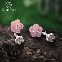 Pink Begonia Flowers Natural Shell Solid 925 Silver Drop Earrings Gift for Women