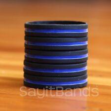 5 Thin Blue Line Wristbands - Police / Law Enforcement Awareness Bracelet Bands