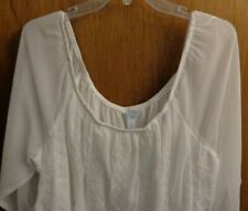 New Boutique White Boho Peasant Eyelet Sheer Lined Top Blouse Womens 1X  $36