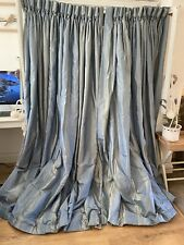 Bespoke Vintage Blue Stripe SILK INTERLINED Large Curtains * 3 Pairs Available