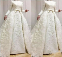 Appliques Pearls Detachable Train Wedding Dress White/Ivory Mermaid Bridal Gown