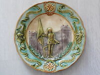 JOAN OF ARCH : ANTIQUE French Majolica PLATE - antique CHOISY LE ROI pottery
