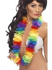 BRIGHT LARGE RAINBOW LEI, MULTI, HAWAIIAN, LUAU FANCY DRESS, UNISEX
