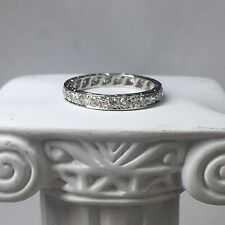 Vintage Estate Platinum Diamond Eternity Band Ring Size 7.25 Wedding Anniversary