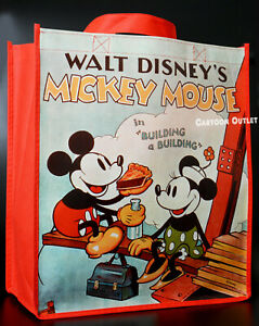 """Disney Large Reusable Classic Mickey & Minnie Mouse Tote Shopping Gift Bag 15"""""""