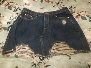 Missguided Ripped Denim Skirt Size 10