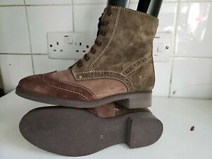 PEDRO MIRALLES DESIGNER UK 3 EU 36 WOMENS FLAT BROGUES SUEDE LEATHER ANKLE BOOTS