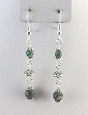 Ching Hai Jade Bead 60X7 mm Dangle Hook Earrings Silver Plated