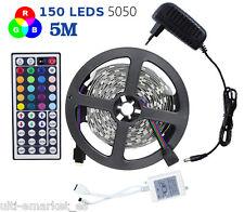 Cinta tira de luces 5050 SMD 150 LEDS RGB + blanco 5M bajo consumo 12V mando