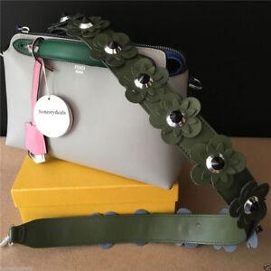 Studded Flower Genuine Calfskin Leather Hand bag Crossbody Shoulder Strap You