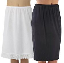 "New Womens 18""/27"" Premium Poly-cotton White/Black Embroidery Underskirt/Slip"