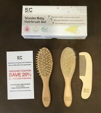 New Organic Infant Care Gift Set of 3 Goat 2 Hair Brushes & Wooden Massage Comb