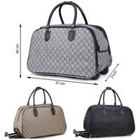 New Small G Print Wheeled Travel Bag Holdall Luggage Cabin Trolley Weekend Case