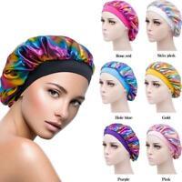 1xAdjust Elastic Silk Satin Night Sleep Cap Hair Bonnet Head CoverWide BandBest