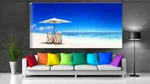 Beach View Couple Relaxing on Beach Seascape Canvas Print Large 100X50cm