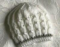 Hand Knitted Unisex Baby  White / Grey Trim  Beanie Hat 0 - 3 Mths