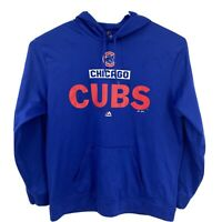 Mens Majestic MLB Chicago Cubs Blue Pullover Hoodie Sz 2XL XXL