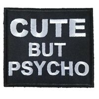 CUTE BUT PSYCHO words Iron On Patch Sew On Biker Girl Motorcycle Patch