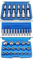 Steckschlüsselsatz + 19 tlg. Steckschlüsselsatz 1/2 Zoll 8-32 mm + Langnüsse 1/4