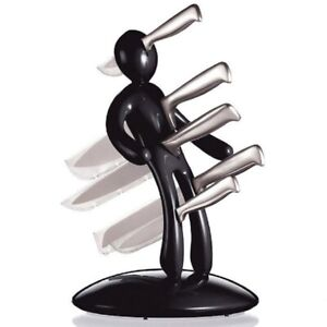 VOODOO MAN KNIFE BLOCK SET WITH 5 STAINLESS STEEL KNIVES BLACK SCRATCHED BASE