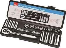 "3/8"" Drive Socket Set Metric 21 PC Kit Ratchet Deep Sockets Extensions - HILKA"