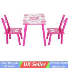 Kids Childrens Wooden Garden or Inside Table and 2 Chairs Set Pink Flowers