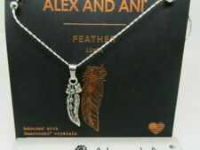 Alex And Ani Silver Feather II Necklace / Swarovski Crystals, New Style  NWT