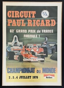 ORIGINAL 1976 FRENCH GP PAUL RICARD F1 RACE POSTER LINEN BACKED JAMES HUNT WIN