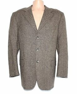 Men's Vintage D&V Fitted Brown 100% Wool Blazer Jacket Size XL Pit To Pit 24 in