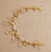 Women Girl Retro Party Gold Color flower Hair head Headband Crown Tiara Garland
