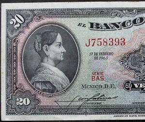 MEXICO 1965 $20 PESOS CORREGIDORA Serie BAS (J758393) VERY NICE BANKNOTE