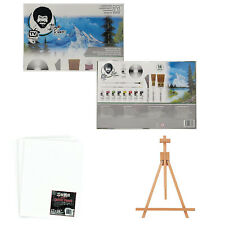 Bob Ross Master Artist Oil Paint Set with Wood Table Easel & 12x16 Canvas Panels