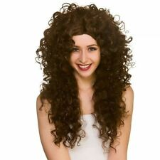 Adults Ladies Long Curly Wig Fancy Dress 80s Yuppie Perm Accessory Brown