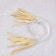 1 Set 18x Single Pointed Carbonized Bamboo Circular Knitting Needles Tubes New