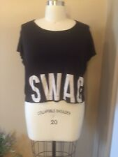 "FOREVER 21 PLUS SIZE BLACK GRAPHIC ""SWAG"" CROPPED TOP"