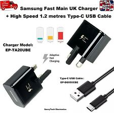 100% Original UK Fast Mains Charger 1.2M Type-C Cable for Samsung A3 A5 A7 2017