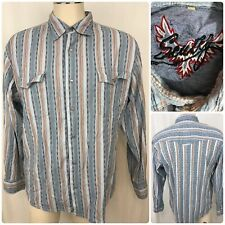 SCULLY Men Long Sleeve Pearl Snap Button Stripe Colorful Shirt Sz Large