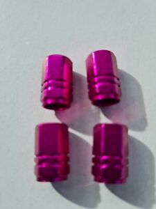 Purple Hexagonal Aluminium Car Wheel Tyre Valve Dust Caps Set of 4