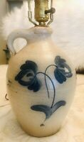 VINTAGE ROWE POTTERY WORKS LAMP 1984 Salt Glaze Jug Cobalt Tulips Made USA 20""