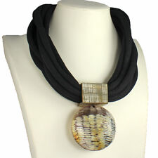 Buffalo horn oversized tribal style statement round pendant choker necklace