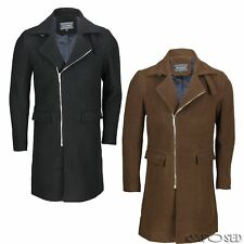 Mens Vintage Black Camel Brown Slim Fit Jacket Cross Zip Smart Casual Long Coat