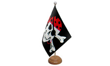 One Eyed Jack Pirate Table Flag with Wooden Stand