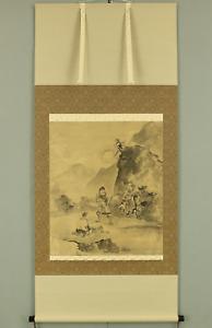 曾我蕭白 SOGA SHOHAKU Japanese Big hanging scroll / THREE MEN UNDER MOON Box I847