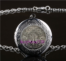 Celtic Wolf Tree Of Life Glass Gun Black Chain Locket Pendant Necklace