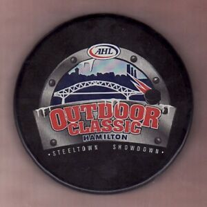 2012 HAMILTON AHL OUTDOOR CLASSIC GAME PUCK BULLDOGS vs TORONTO MARLIES - LAST1