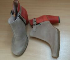 El Naturalista size 7/40 Coral Nude Colour Block Heel leather Ankle Boots Vgc